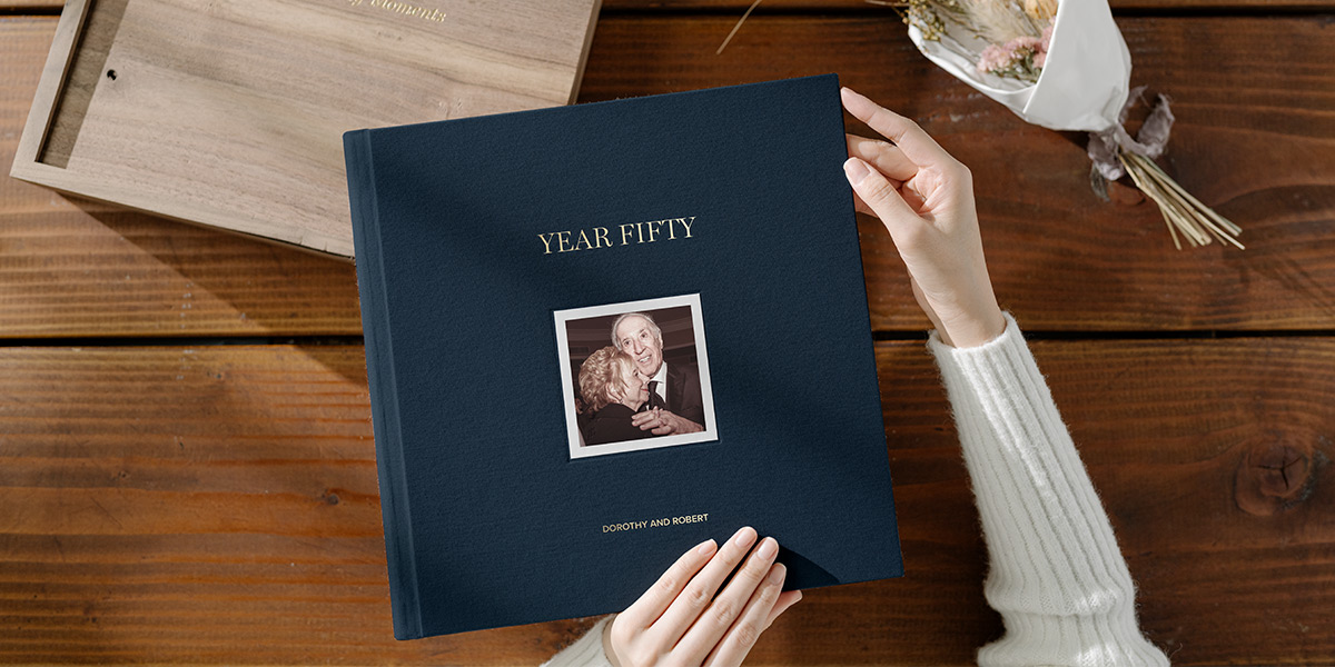 Anniversary photo album created for parents' 50th anniversary