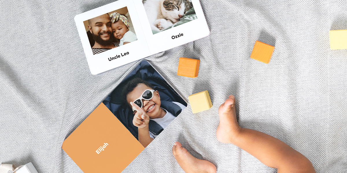 Baby Board Book with photos of family members and their names