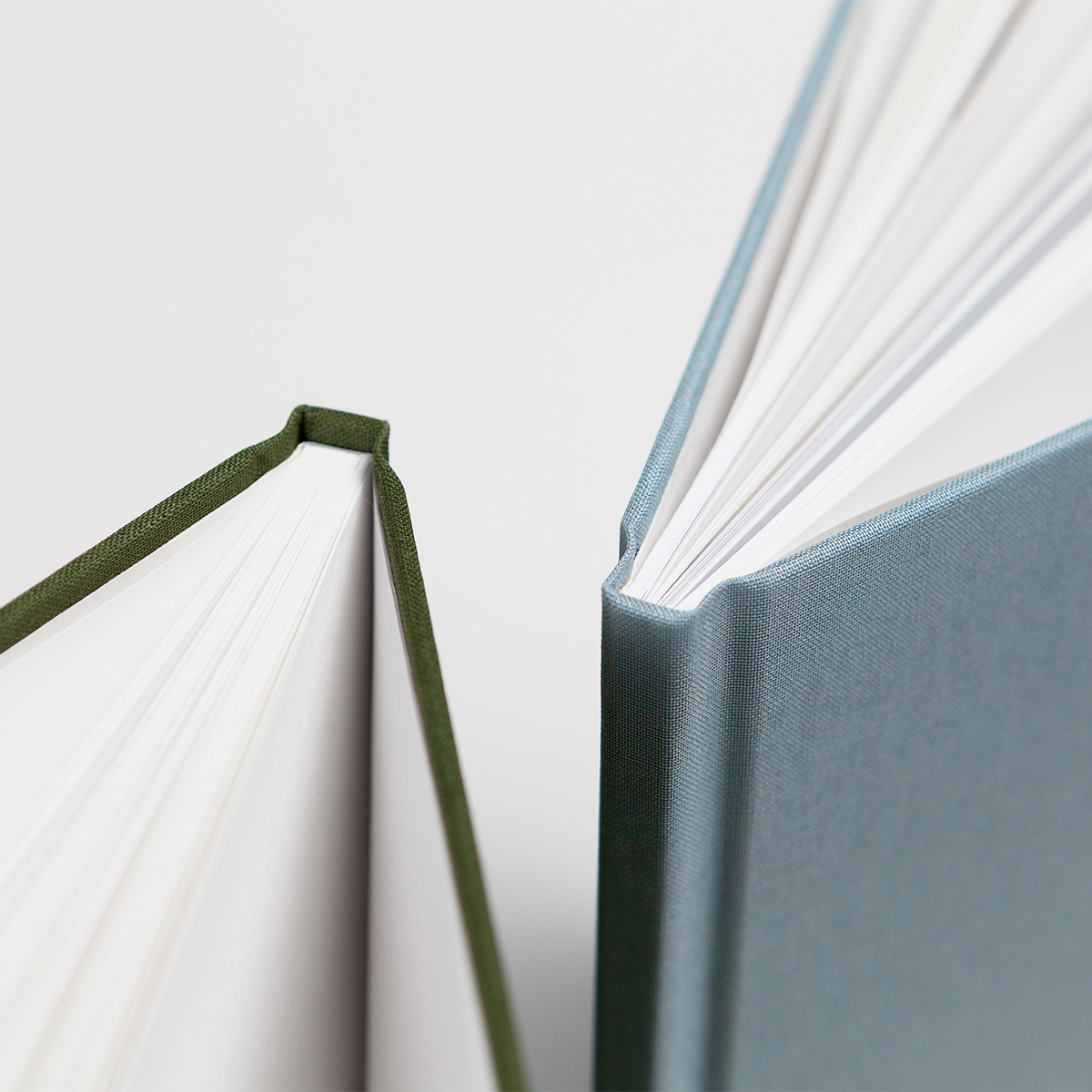 Close up image of hardcover photo book binding
