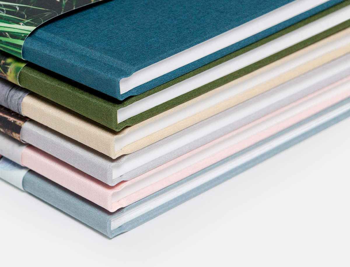Close up hardcover photo book linen cover in six different colors