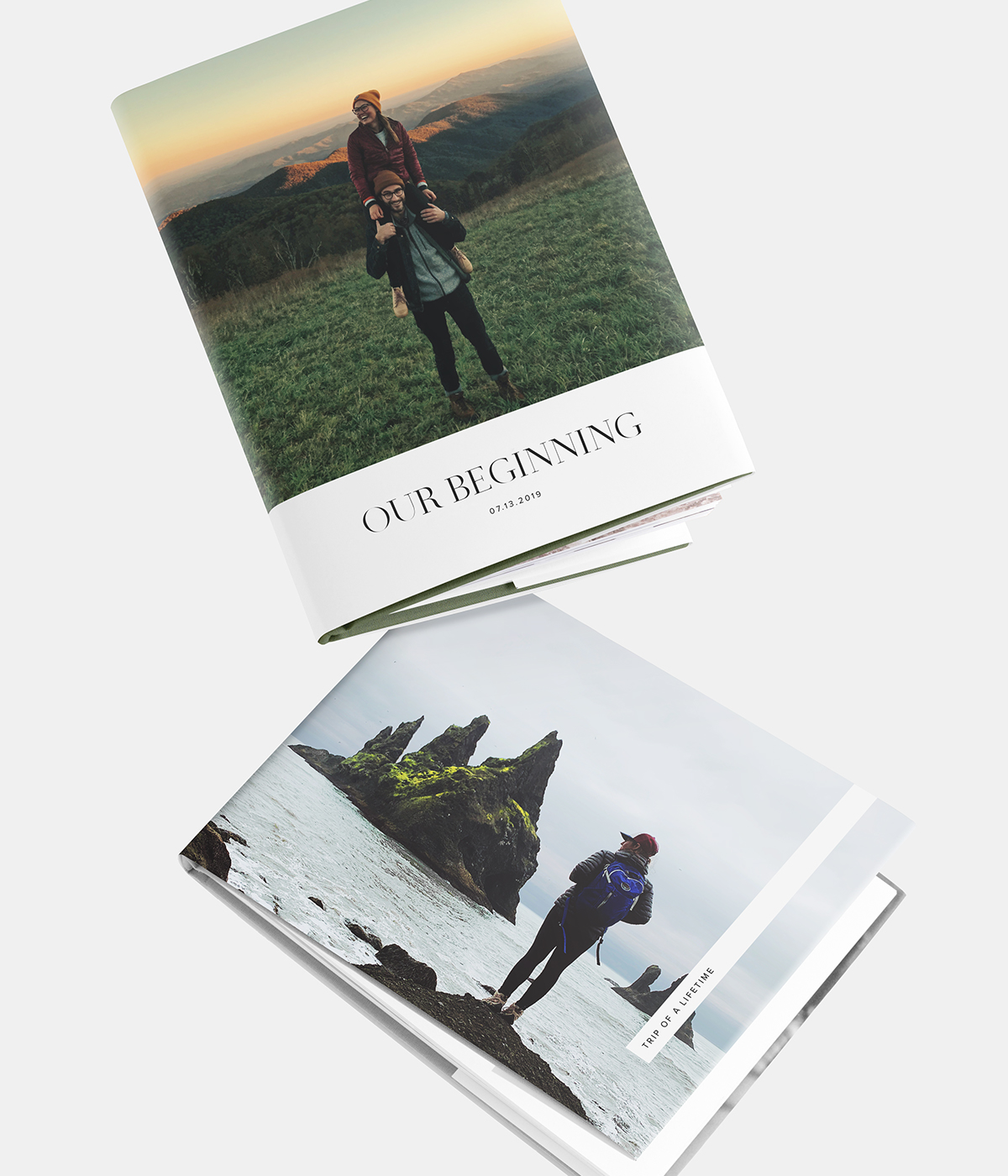 Two different cover designs available for the hardcover photo book