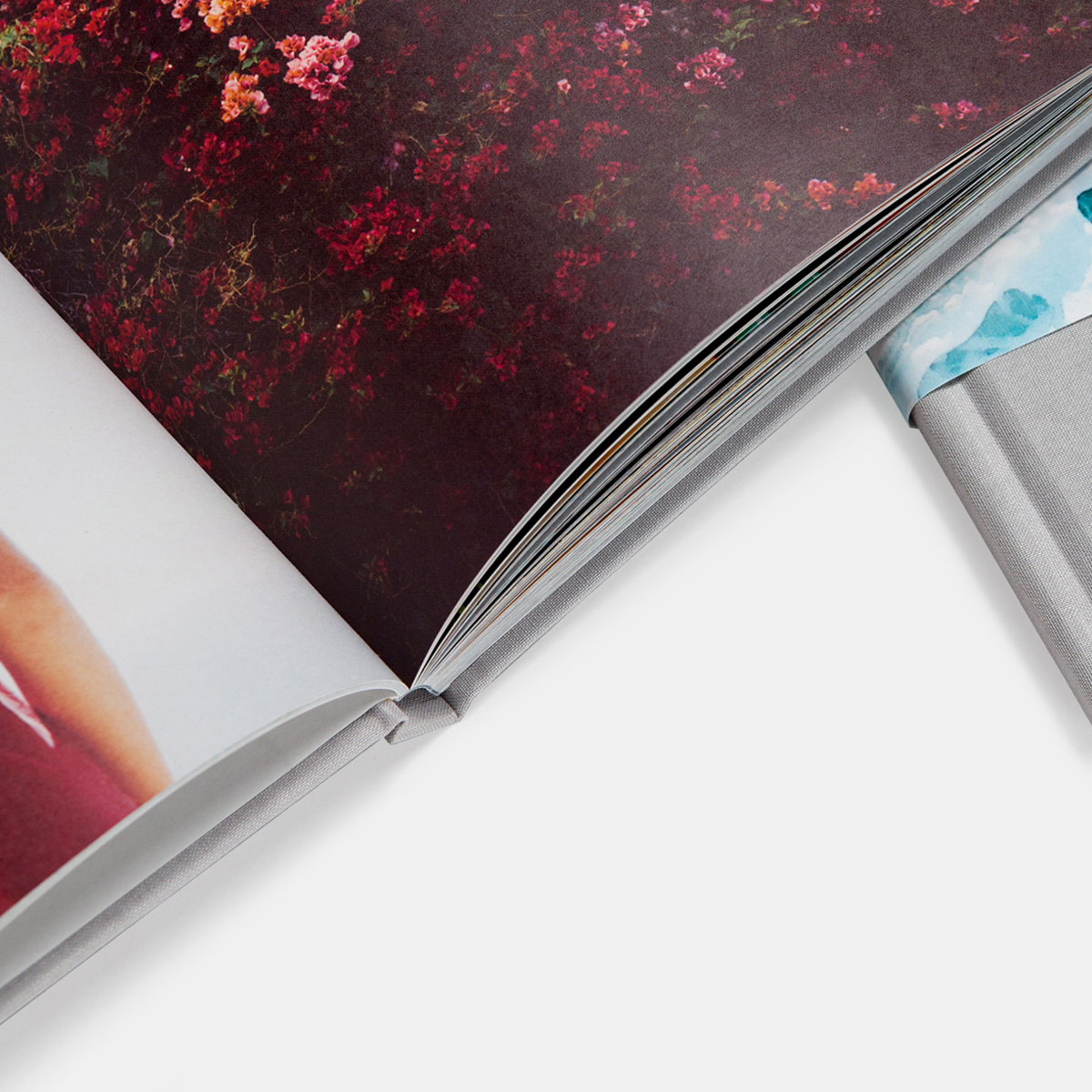 Close up of interior pages of the hardcover photo book