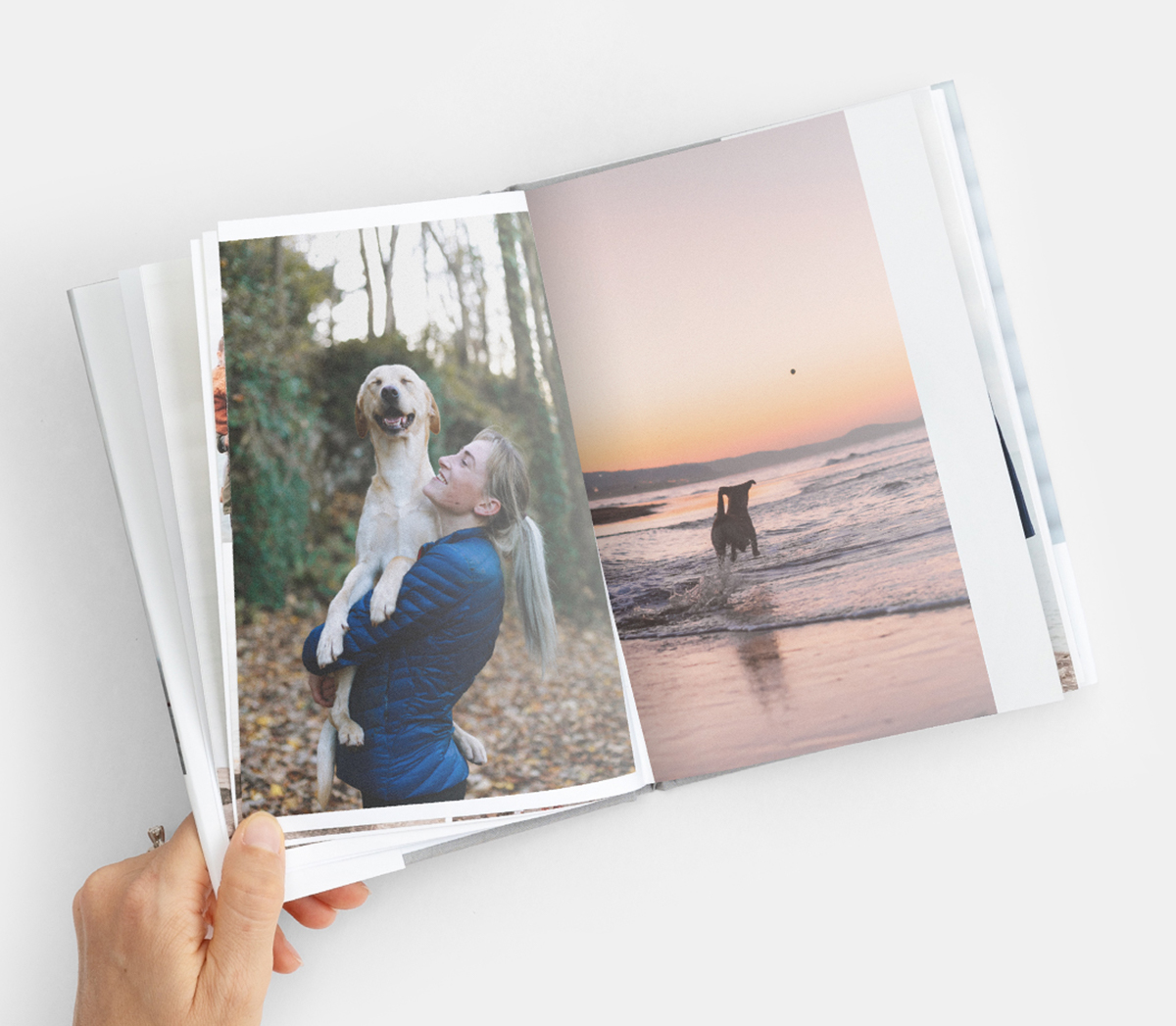 Interior pages of hardcover book showing woman holding happy yellow lab in her arms