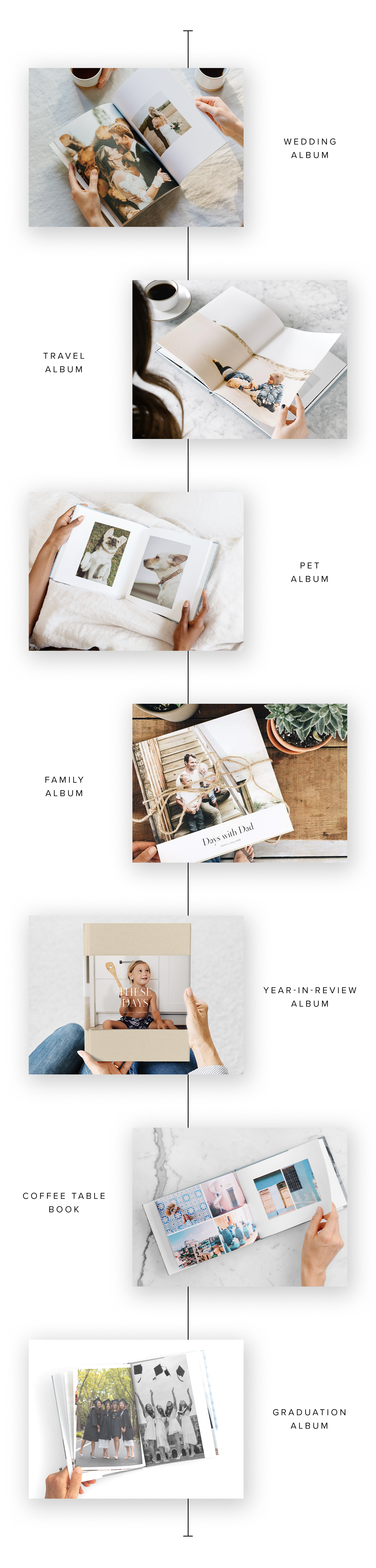 7 different Hardcover Photo Books being used for different purposes ranging from travel to wedding photos