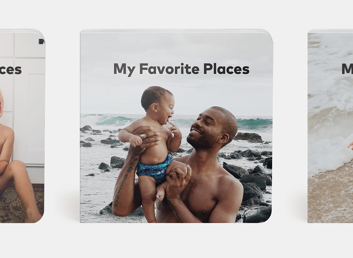 My favorite places theme with father and son at the beach featured on cover