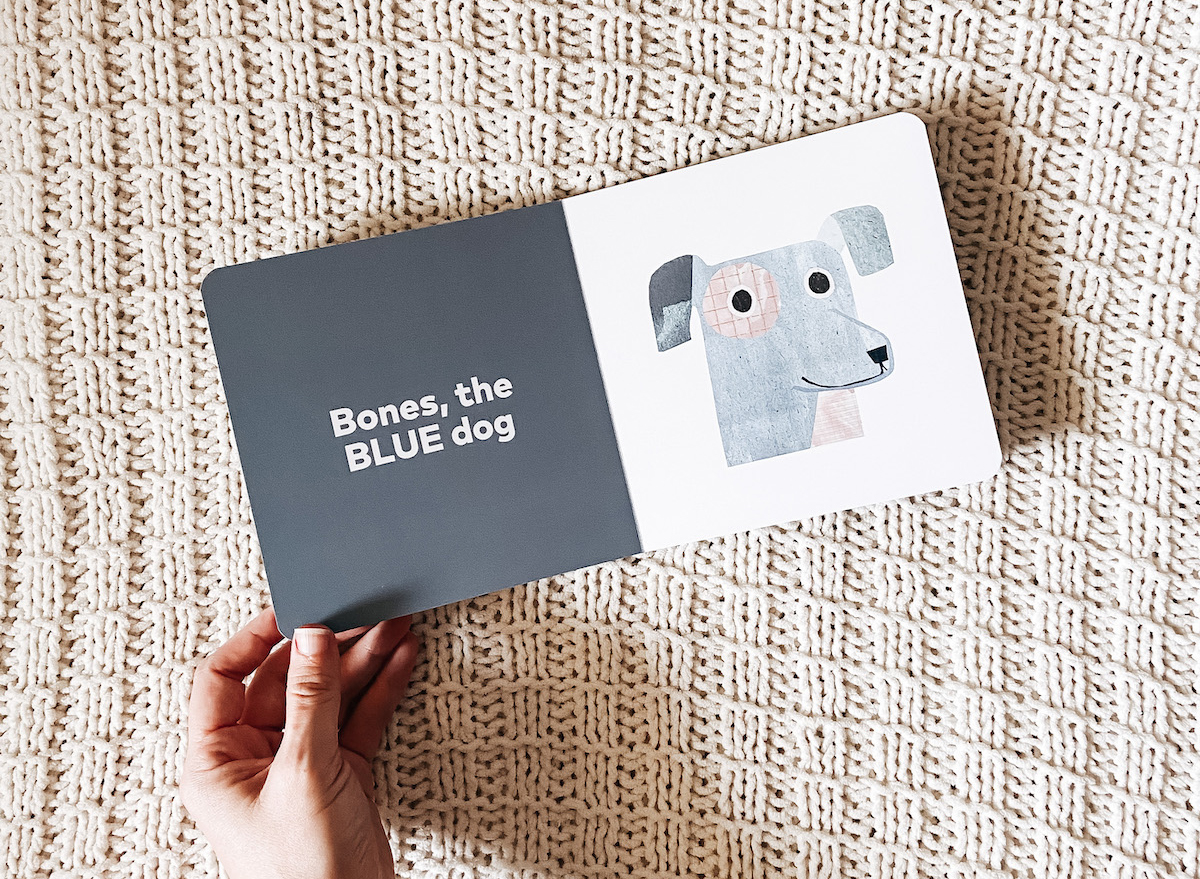 Board Book opened to page with Bones the Blue Dog