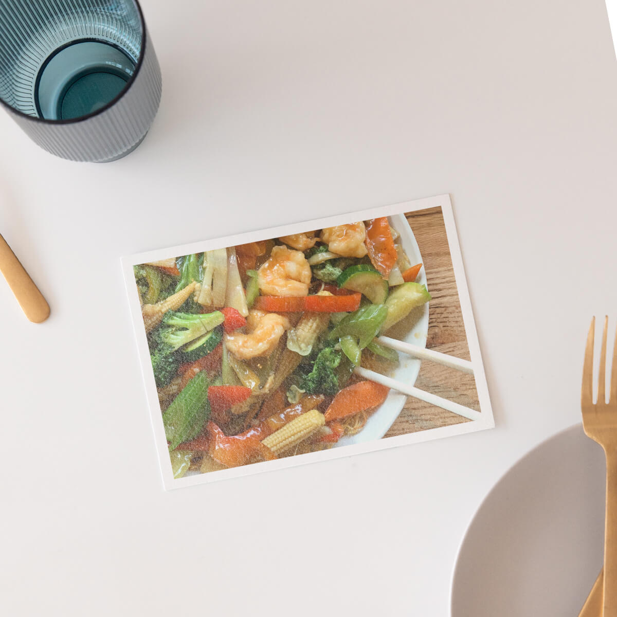 DIY postcard featuring photo of shrimp stir fry on the front
