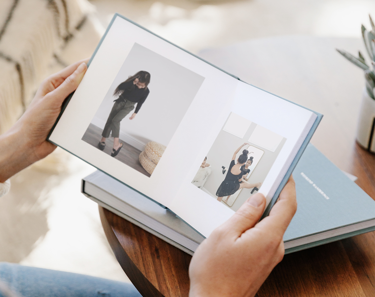 Everyday Photo Book opened to image of little girl at ballet recital