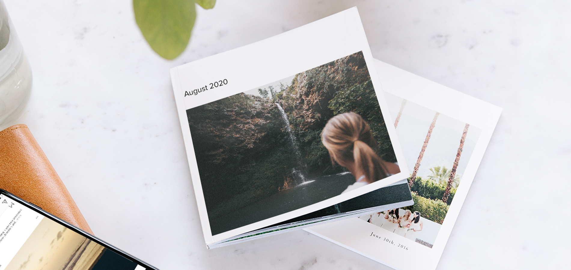 easy photo book titled August 2020 and featuring waterfall on the cover