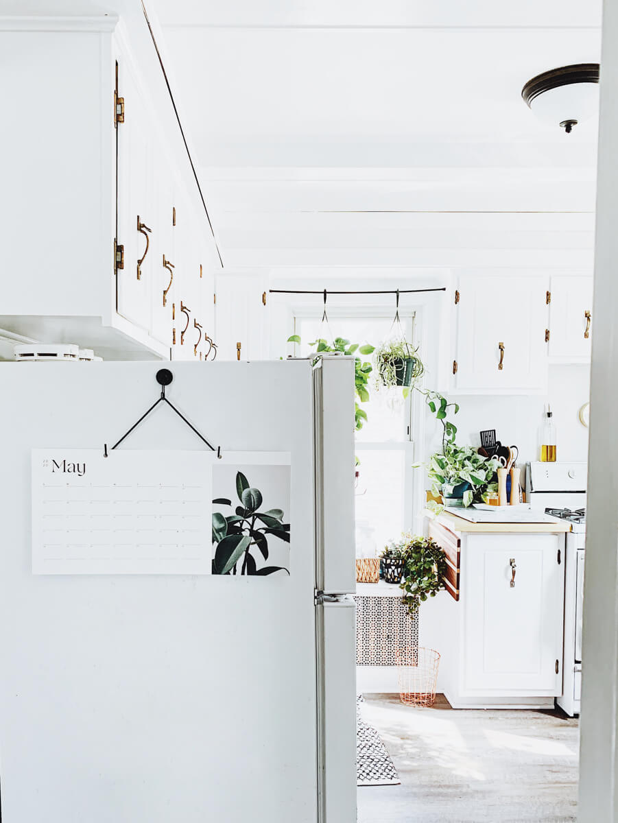 Brightly lit white kitchen filled with plants and featuring wall calendar hanging on side of fridge
