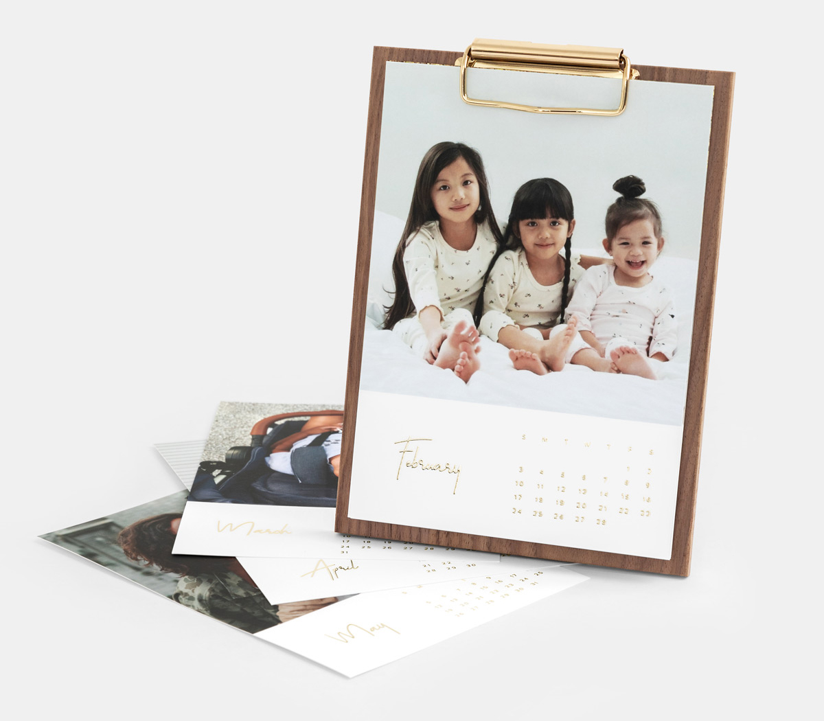 Walnut Desktop Photo Calendar featuring photo of three little girls