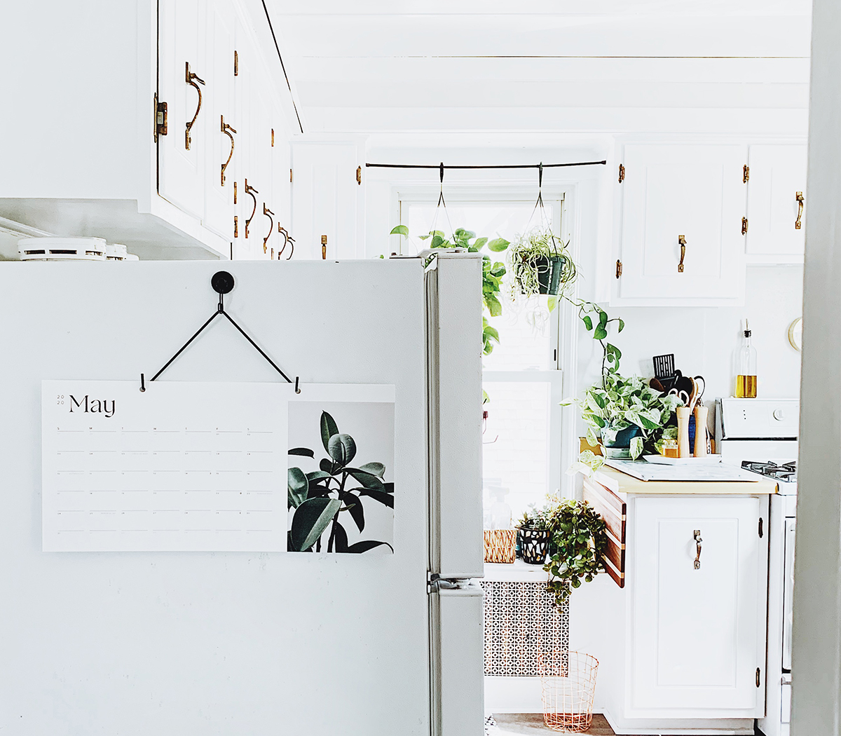 Photo by @kellybananatree of Artifact Uprising Modern Wall Calendar hanging in brightly-lit kitchen