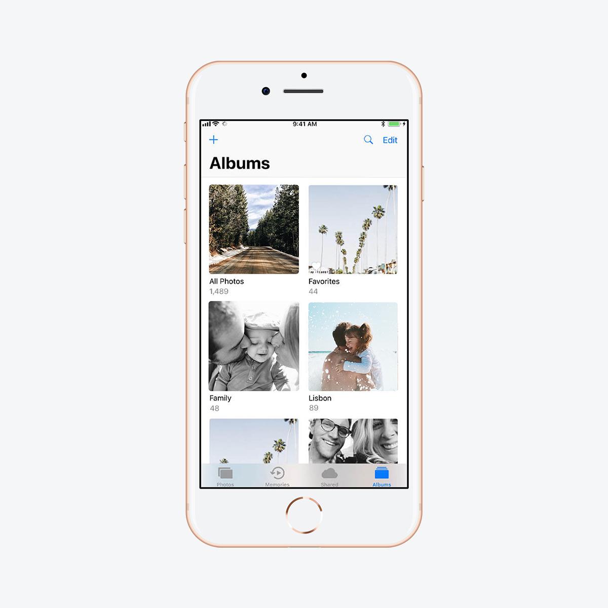 Digital photo albums in smartphone camera roll