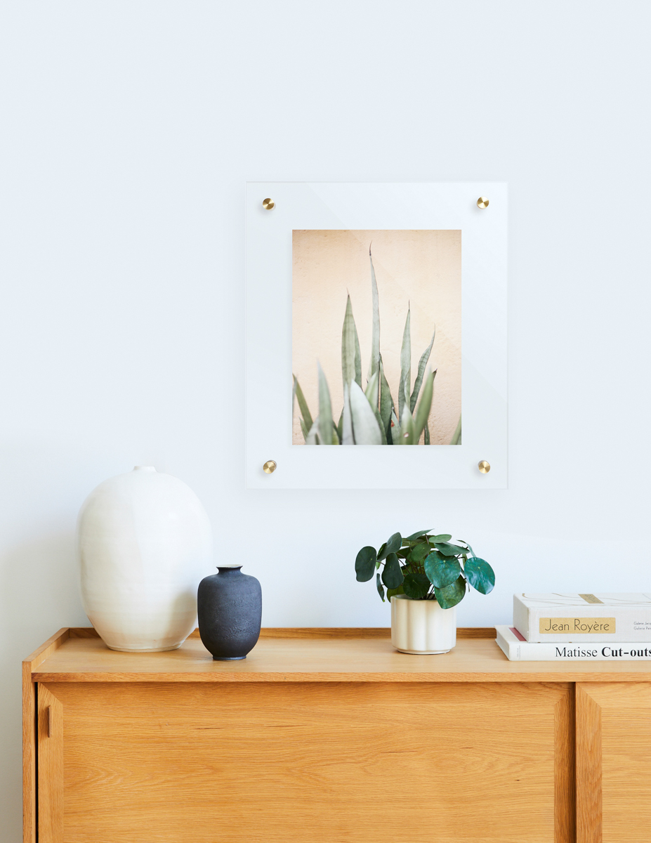 Artifact Uprising Floating Frame hanging above dresser with Pilea Peperomioides plant