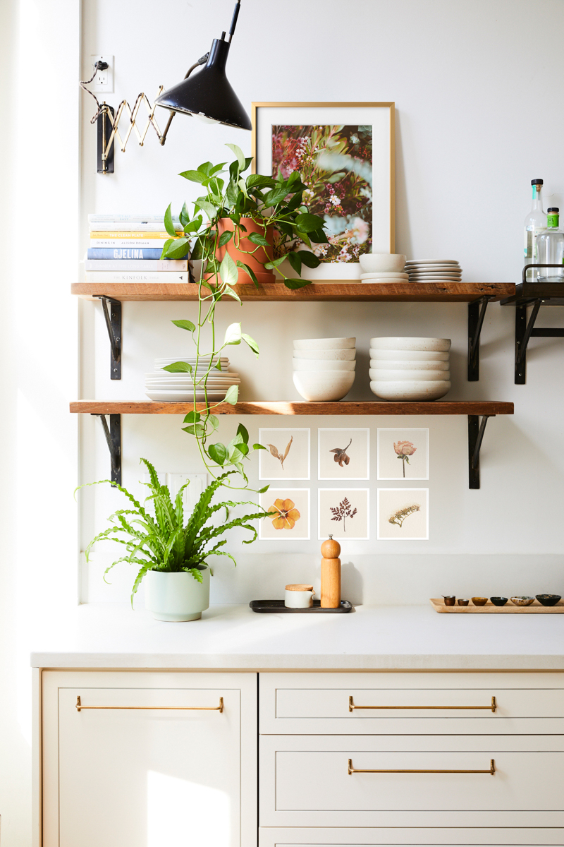 Kitchen shelves filled with small plants, framed photos, dishes, and photo prints