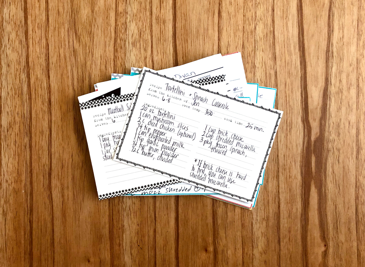 Stack of handwritten recipe cards