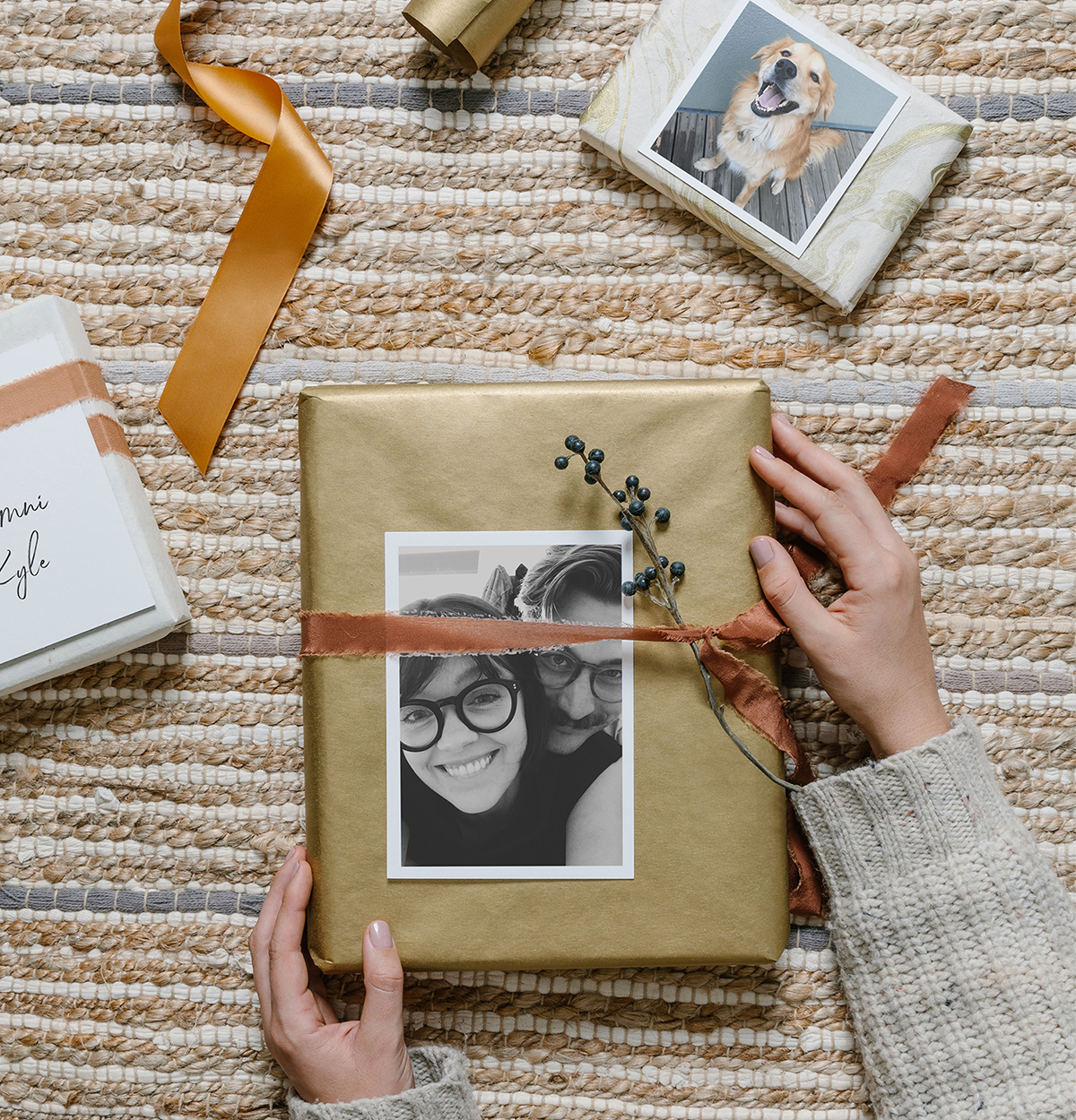 Wrapped gift with photo print on the front