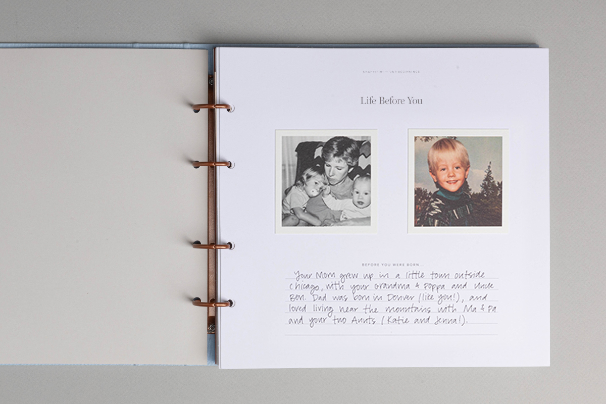 Life Before You prompt page inside the Story of You Baby Book