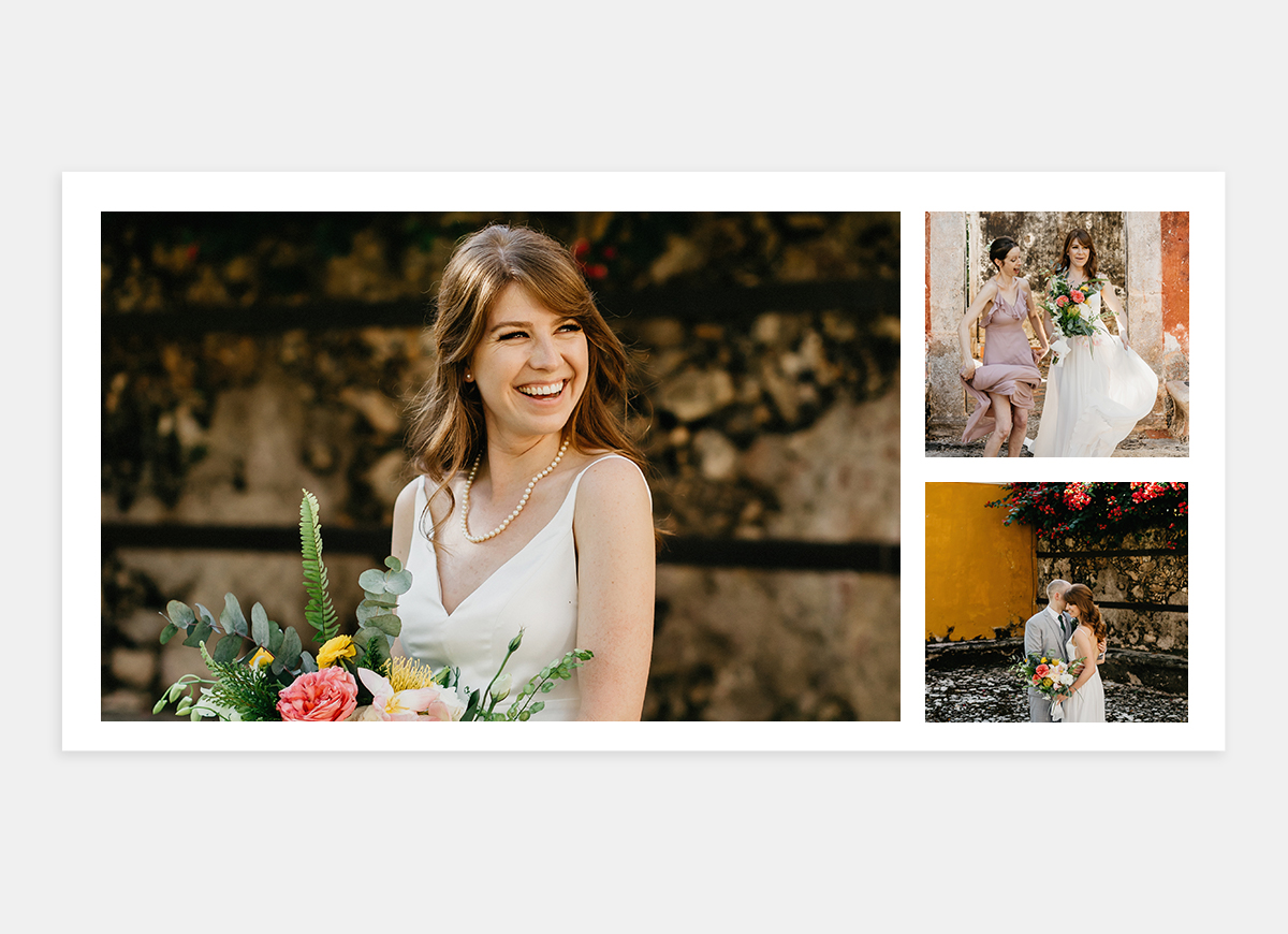 Wedding album two-page spread featuring fun photos of bride
