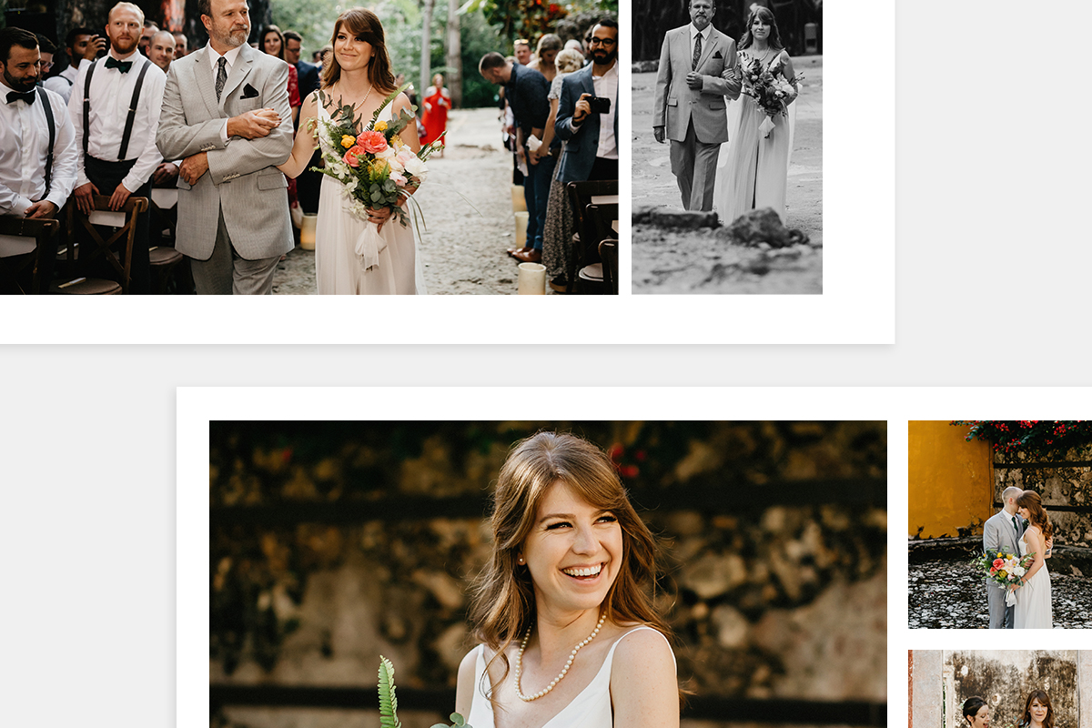 Examples of different layouts in a wedding photo album