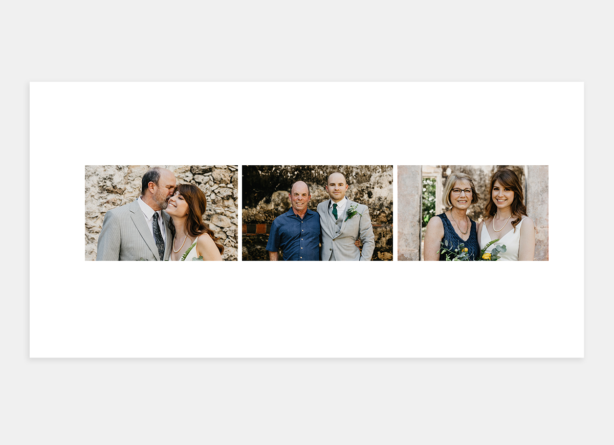 Two-page spread in wedding album featuring photos with parents