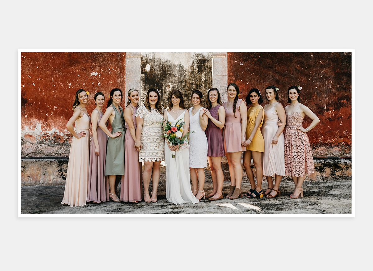 Two-page photo of bridal party in wedding album