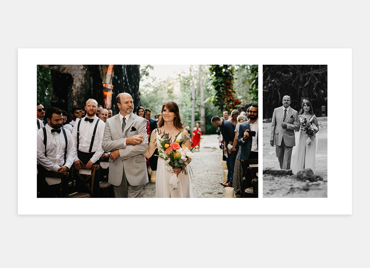 Two-page spread featuring two photos of father walking bride down the aisle