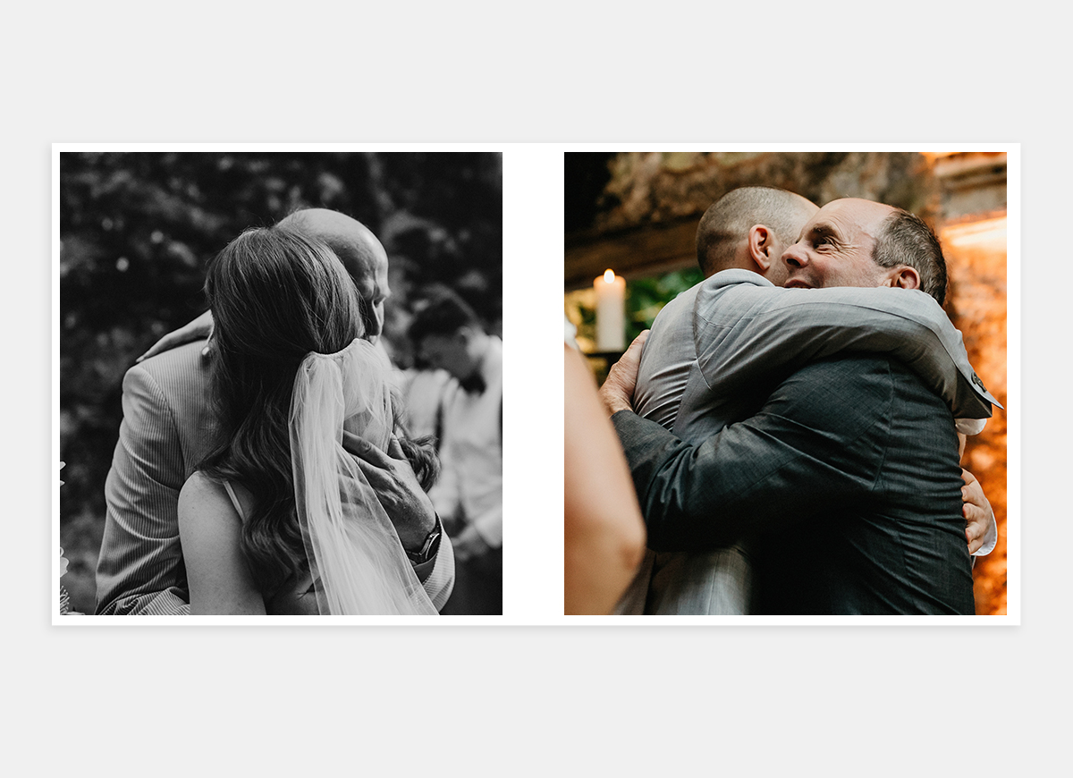 Wedding album two-page spread of groom hugging people in celebration