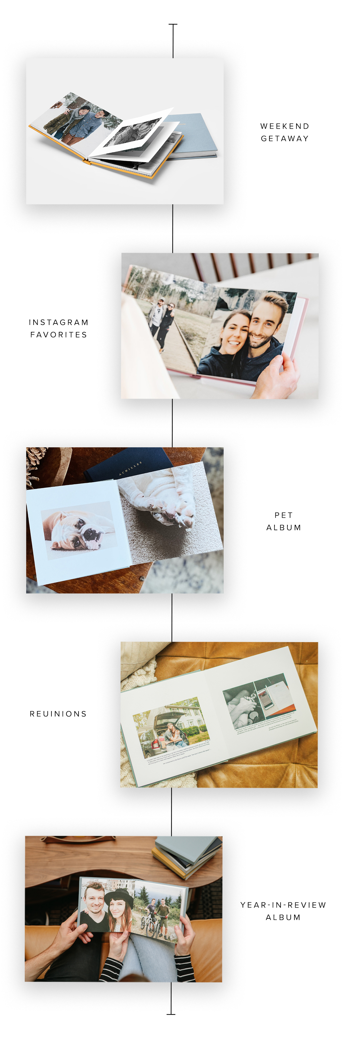5 different Artifact Uprising Everyday Photo Books being used for five different purposes