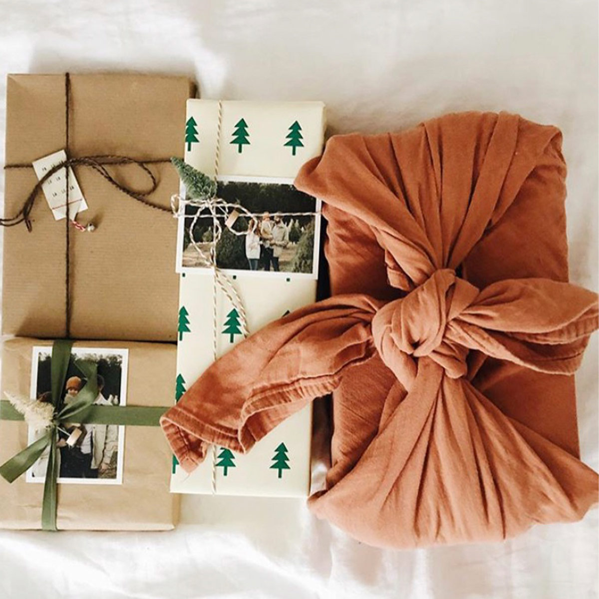 Creatively wrapped gifts with photo prints on them
