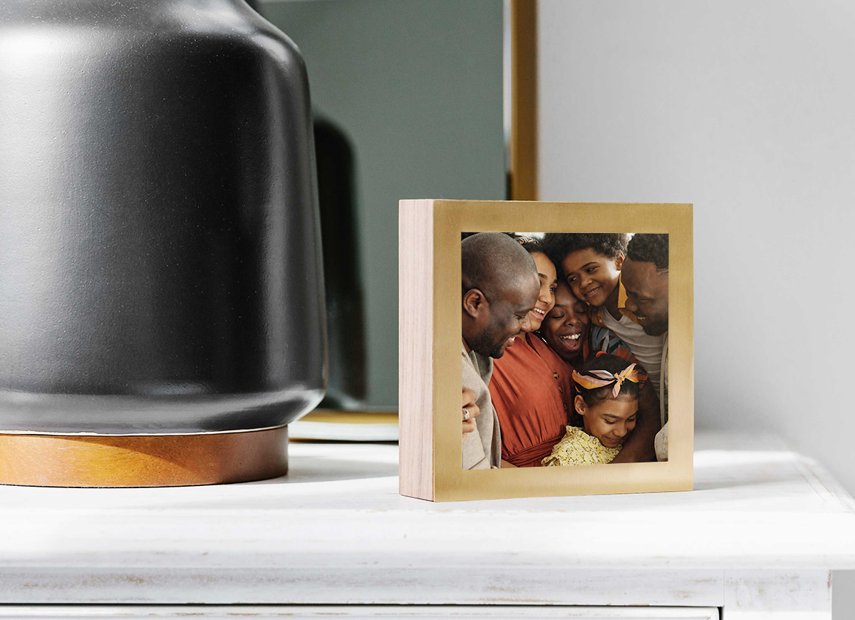 Artifact Uprising Brass & Wood Display Box featuring photo of mother and child