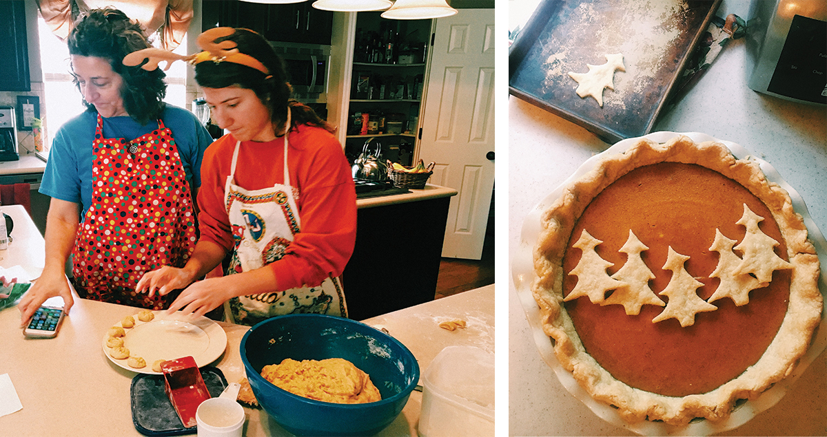 Daughter and mother baking pumpkin pie while FaceTiming family