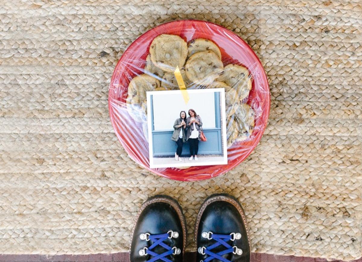 Cookies and photo print left at front door