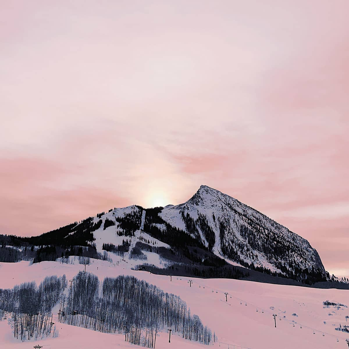 Photo of ski hill at sunset