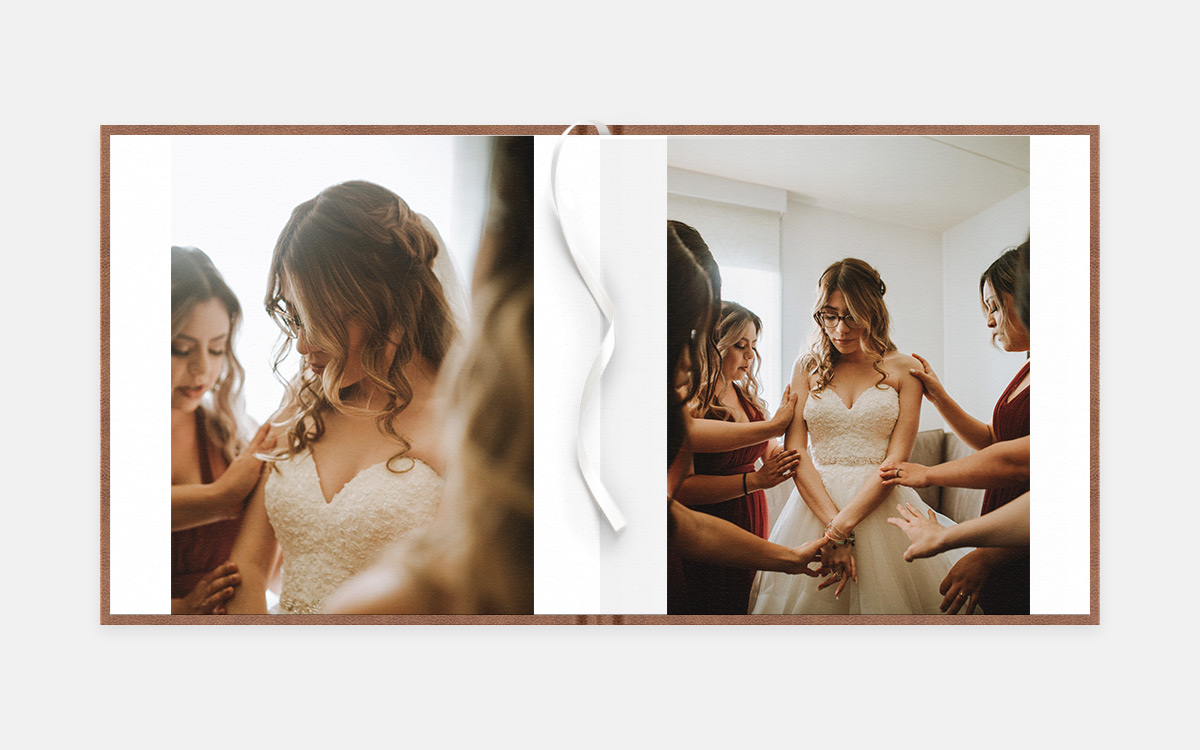 Two-age album spread featuring bride getting ready with bridesmaids