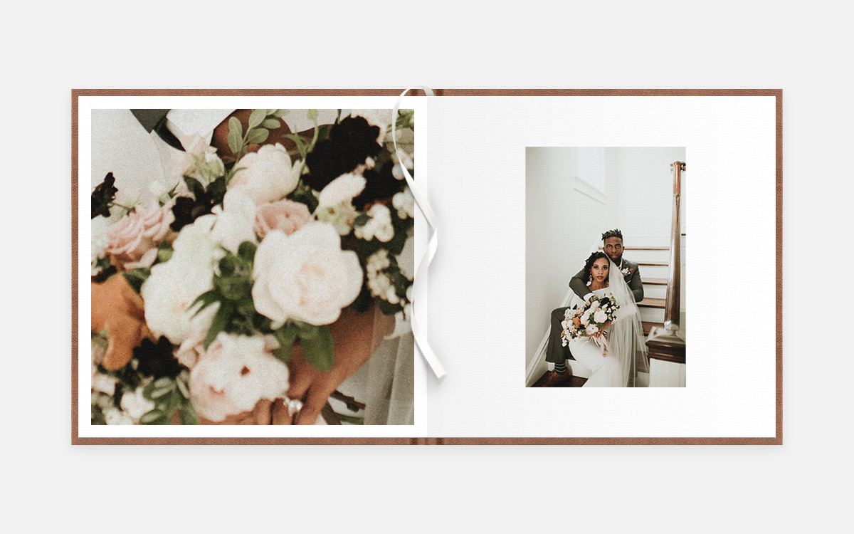 Two-age album spread featuring close up of bouquet and posed photo of bride and groom