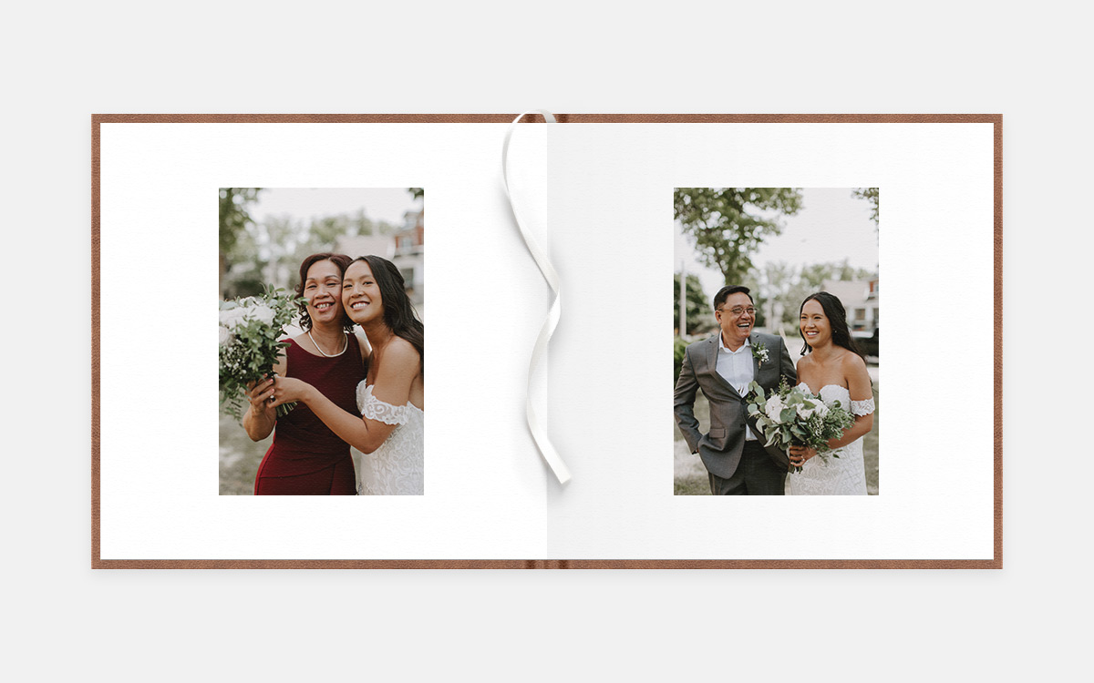 Two-age album spread featuring photos of bride with various guests