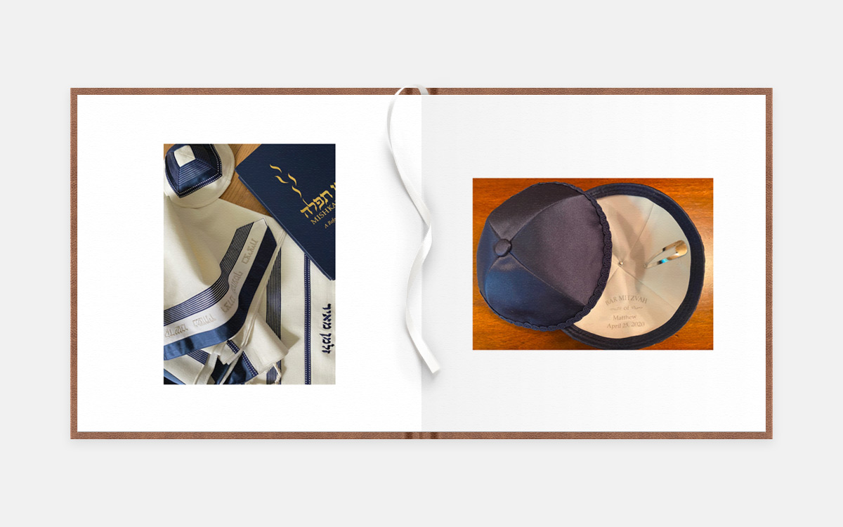 Two-page album spread featuring photos of Bar Mitzvah attire