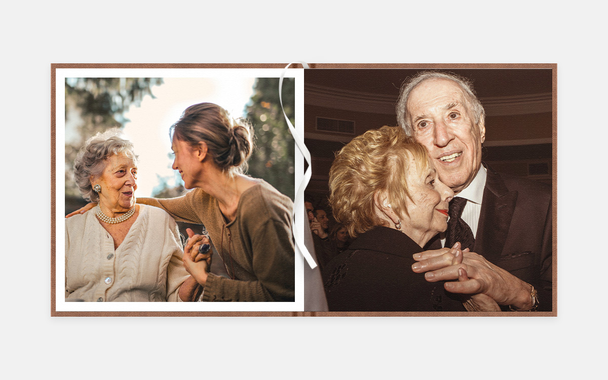 Two-page album spread featuring conversations with grandparents