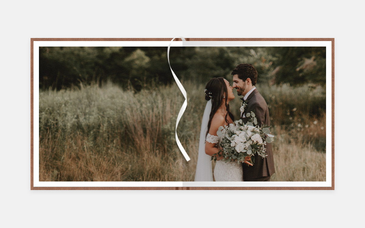 Two-page panoramic image of bride and groom looking into each other's eyes