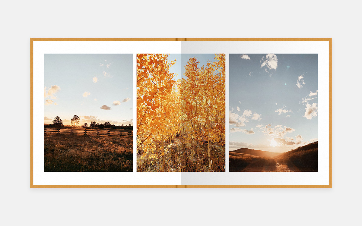 Two-page album spread featuring three fall landcape photos in golden hues