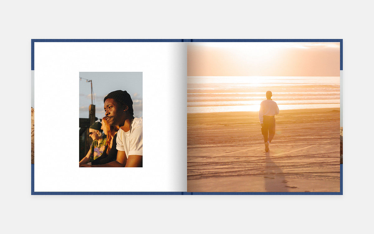 Two-page spread featuring trio of friends on left page and woman walking into sunset on right page