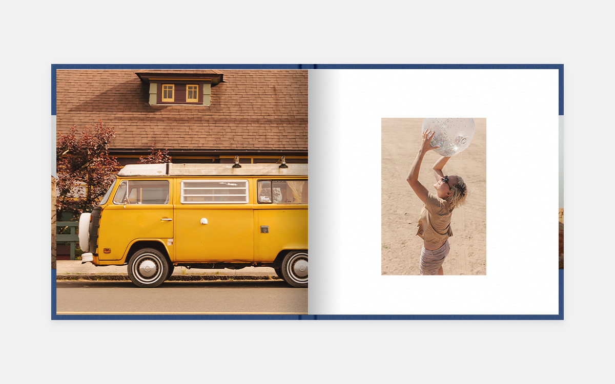Two-pages spread with yellow VW classic camper on left and girl holding up beach ball on right page