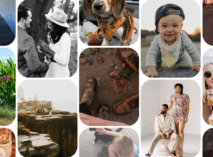 Grid of photos of people, places, pets, and families