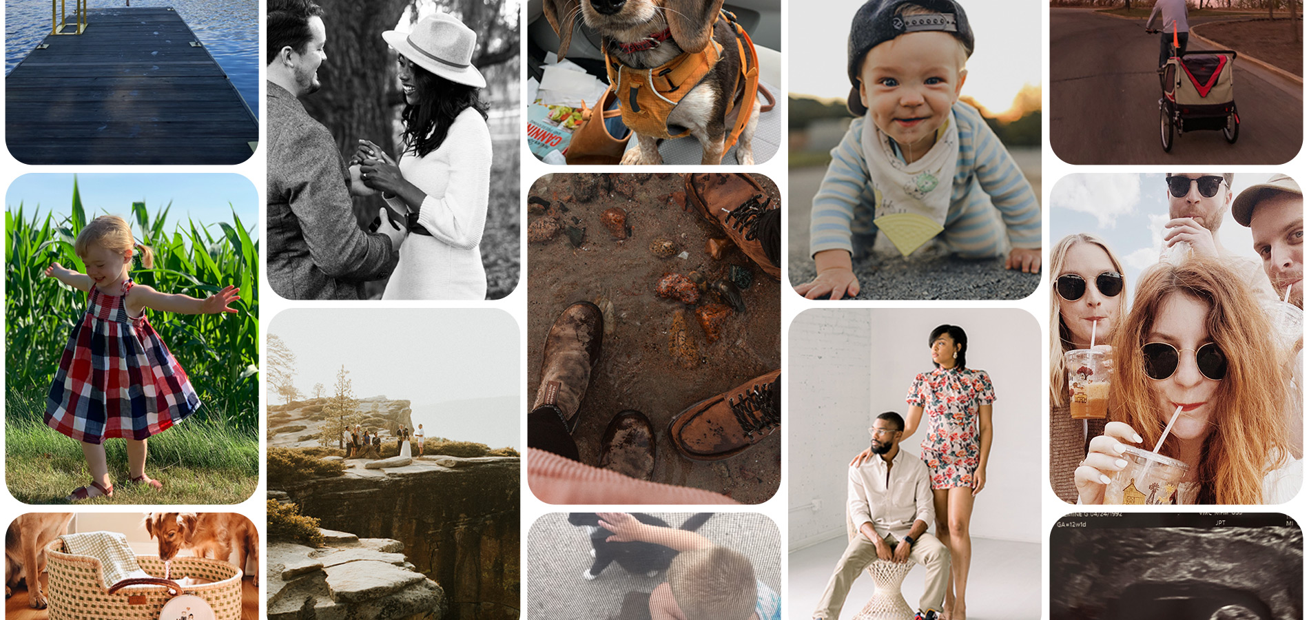 Grid of various photos of people, places, pets, and families