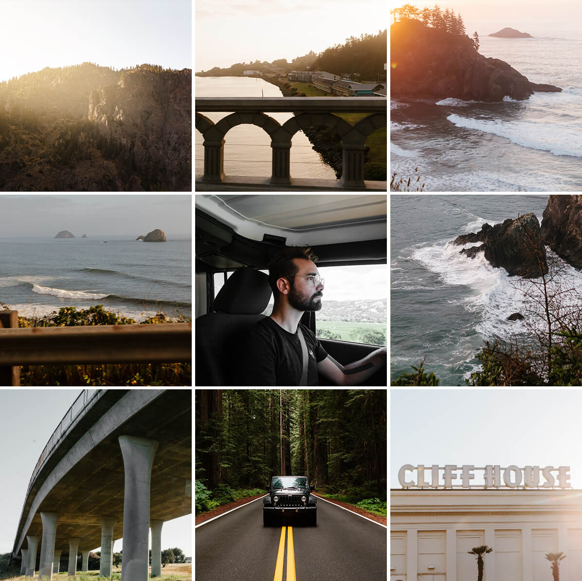 Grid of road trip photos by Brandon Lopez