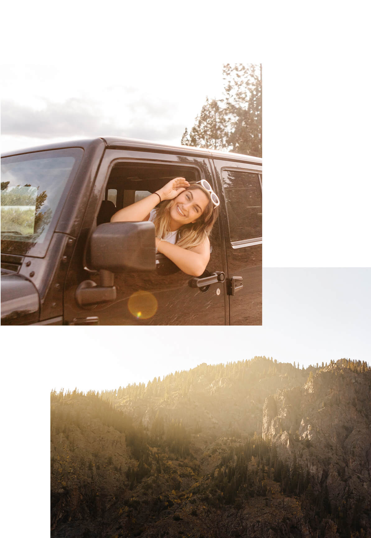 Two photos by Brandon Lopez of girl peaking head out of jeep window and pine-clad rocky hills