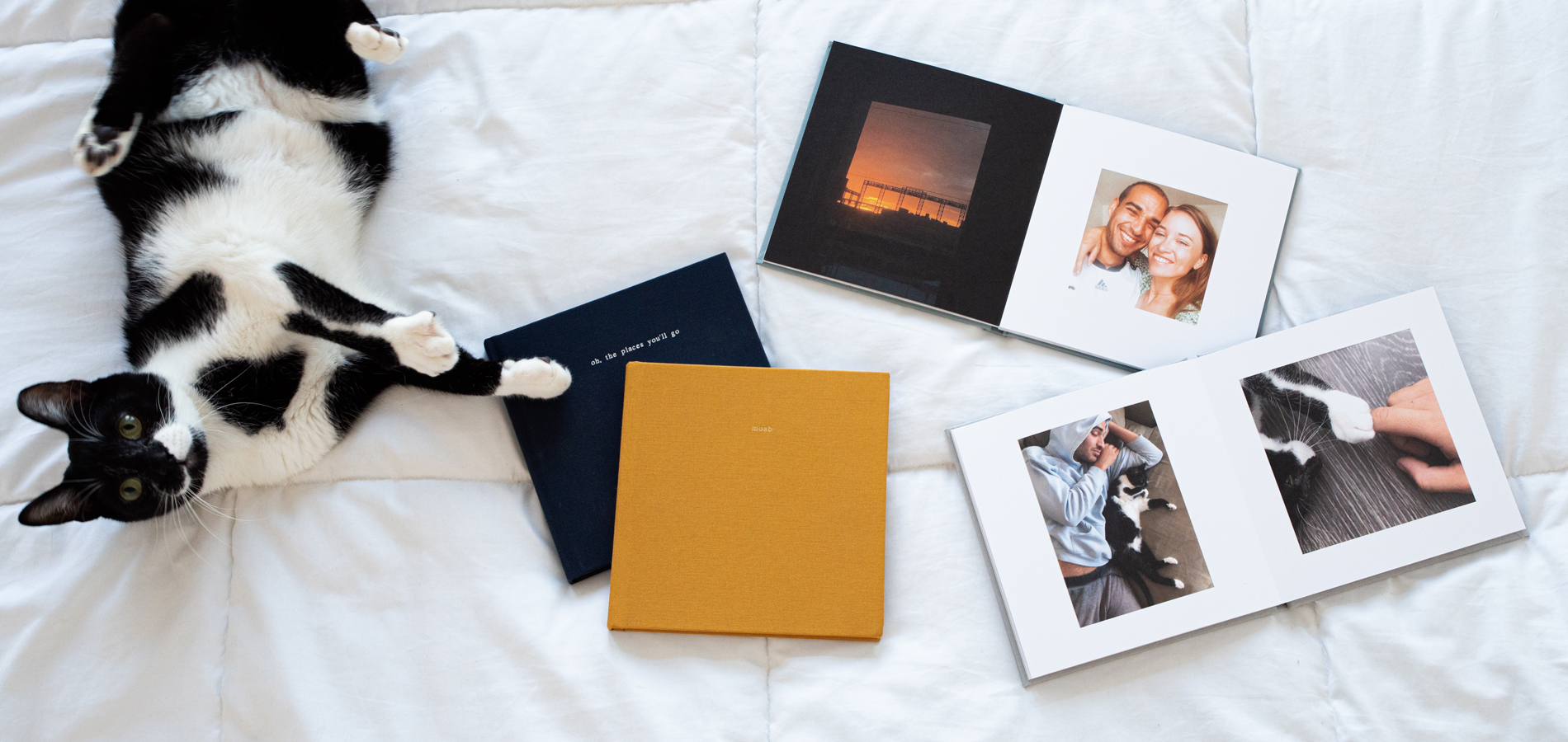 Two Artifact Uprising Everyday Photo Books opened up on bed next to cat and two closed albums