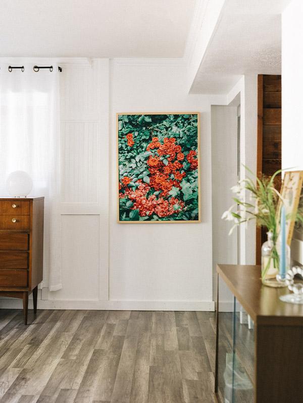 Large Artifact Uprising Modern Metal Frame featuring photo of red flowers