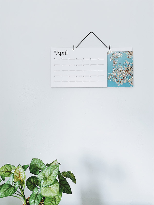 Artifact Uprising Modern Wall Calendar hanging on wall turned to photo of blooming tree